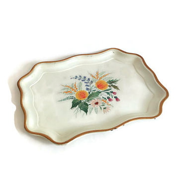 Vintage Toleware Serving Tray, Beige with Orange & Green Flowers, Scalloped Edges, Gold Trim, Handpainted Tole Tray, Tin Tray, Shabby Chic