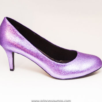 Glitter Lavender Purple High Heels Pumps Custom Shoes
