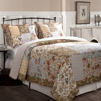King Cotton Quilt Set in Blue Brown Peach Floral Patchwork Pattern
