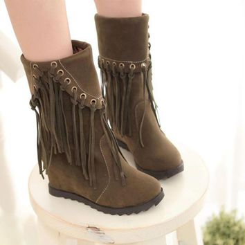 PEAPON Tassel solid color high-heeled boots