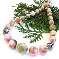 Valentines Pink Green Candy Jade Necklace Handmade Gemstone Jewelry | ShadowDogDesigns - Jewelry on ArtFire