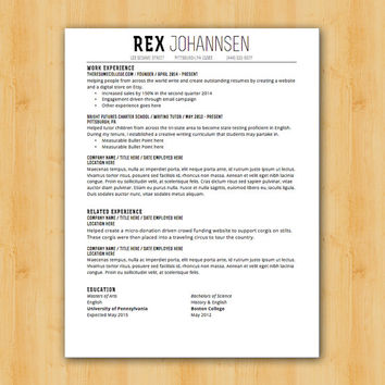 Easy to Edit Resume Template - The REX Design - Helping You Save Time & Get The Dream Job You Deserve - Instant Download