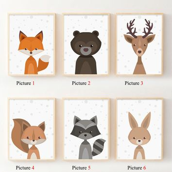 Nordic Art Forest Animal Squirrel Deer Bear Poster Minimalist Canvas Painting Nursery Picture Print Children Room Decoration