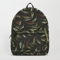 Watercolor Leaf Green Backpacks by lostanaw
