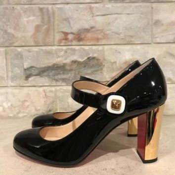 Christian Louboutin Black Bibaba 85 Patent Mary Jane Heel Pumps Size EU 39.5 (Approx. US 9.5) Regular (M, B) 29% off retail