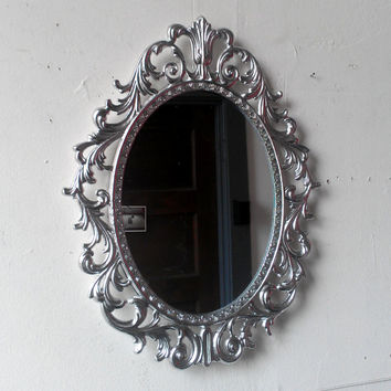 Silver Princess Mirror - Ornate Metal Oval Filigree Frame - 13 by 10 inches