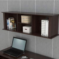 Modern Wall-Mounted Hutch With Shelves Home Office Furniture Espresso Finish New