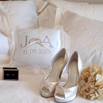 Personalized initial and date embroidery Ivory Ring Bearer Pillow Bride  Etsy  Wedding Embroidery Customized pillow