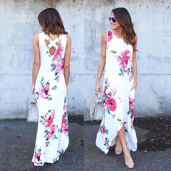 Summer Floral Dresses Bohemian Style Loose Casual Dress