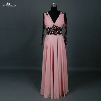 Pink And Black Lace Long Prom Dresses