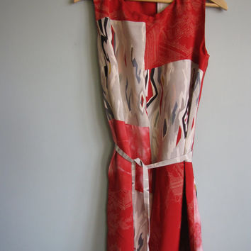 Red Silk Dress Tunic Dress Shift Spring Dress Vintage Kimono OOAK   -Wren