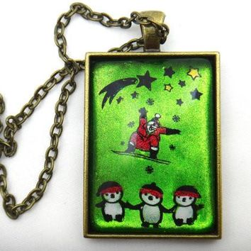 Hand Painted Surf Board Santa Necklace