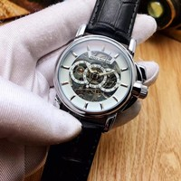 KUYOU P002 Patek Philippe Automatic Machinery Hollow Genuine Leather Strap Watches Black White
