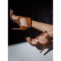 Stiletto Heel PU Open-toe Ankle Strap Sandals