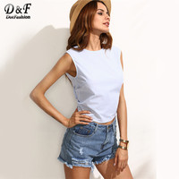 Bow Tie Backless Blouses Women Blue Striped Casual Sleeveless Sexy Summer Crop Tops 2017 Slim Cute Cotton Blouse