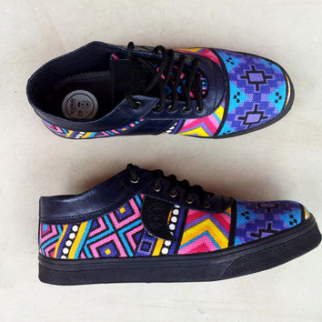 colorful shoes blue yellow turquoise canvas Ikat black leather handmade Rangkayo sneakers men women