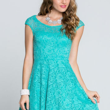 Capturing The Moment Mint Floral Lace Tulle Dress