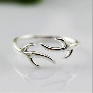 Simple Luxury 925 Sterling Silver Rings For Women Refinement Smooth Christmas Antlers Wedding Ring Open Jewelry Bague Femme C9