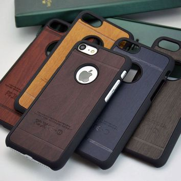 classical  wood Vintage Retro Style PU leather sticker with hard case for iphone 5 5S 4 4S SE 6 6S 7 Plus phone case cover funda