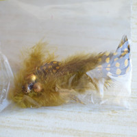 Womans christmas gift, hair clip. Spotted feathers with beads. No slip grip clip. -ONE of A KIND- (Made by lippy brand)