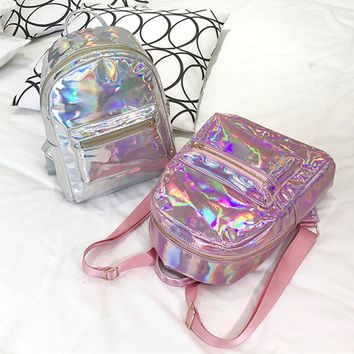 Silver Gold Pink Laser Backpack women girls Bag leather Holographic Backpack