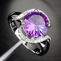 Round Amethyst Engagement Ring Pave Diamond Wedding 14k White Gold 10mm