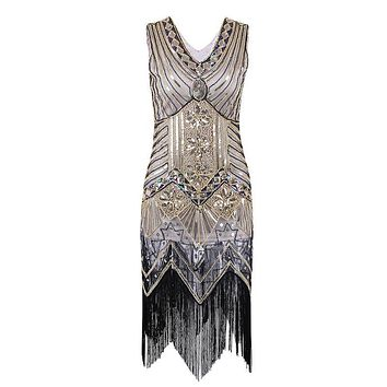 Women Vintage Dresses 1920s Gastby Sequin Art Nouveau Embellished Fringed Flapper Dress