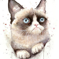Grumpy Cat Watercolor Art Print, Painting, Animal, Giclee, Geek Meme