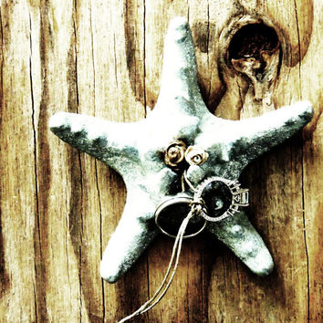Starfish Ring Bearer Pillow Wedding Ring Holder Beach Wedding Ringbearer Pillow Alternative Bowl Dish Plate Box Flower