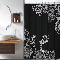 Royal Bath Isabella F/S Large Floral Shower Curtain /Black-Silver