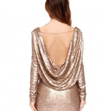 Shiny Deep V-neckline Backless Hip-wrapped Dress