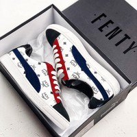 PUMA X MCM Trending Women Men Contrast Sneakers Shoes B-CSXY Blue/Red