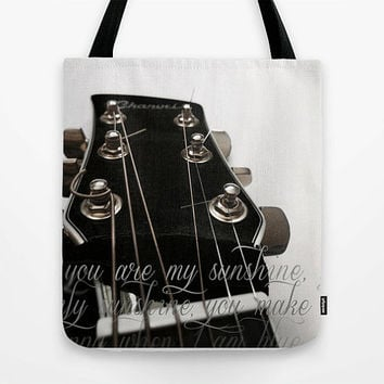 You Are My Sunshine tote bag, Johnny Cash, acoustic guitar strings, music, tote bag, recording studio, song lyrics, market bag, beach bag
