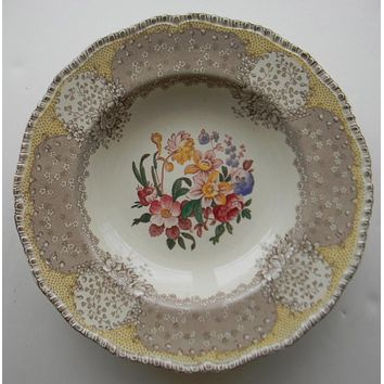 Royal Doulton Vintage Brown and Red Two Color Transferware Rimmed Soup Bowl English Polychrome  Tulips Roses Flowers
