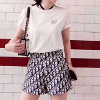 """DIOR"" Woman's Leisure  Fashion Letter Drill Printing Short Sleeve Short Skirt  Two-Piece Set Casual Wear"