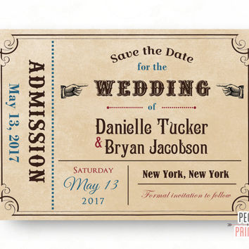 Ticket Save the Date Card Printable // Admit One Save the Date Cards // Vintage Save the Date // Save the Date Cards Wedding