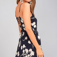 Blooming Beauty Navy Blue Floral Print Dress