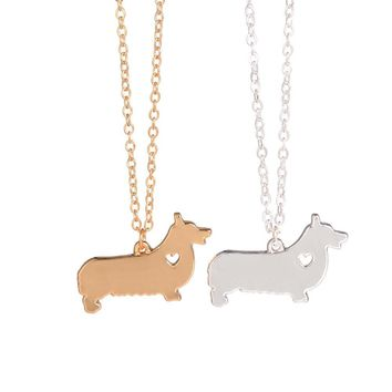 Gold Silver 1pc Corgi Necklace Welsh Corgi Jewelry  Personalized Pets New Puppy Custom Dog Necklaces Adopt For women lovers gift