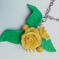 Yellow and green rose necklace, flower necklace, polymer clay jewelley, spring beauty,  everyday jewelery, gift item, wedding jewelery