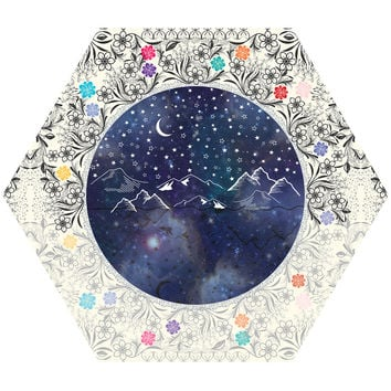 Beautiful Starry Night Hex Wall Decal