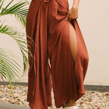 Orange Red Tie Waist Split Front Wide Leg Culotte Pant