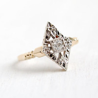 Antique Art Deco 10k Yellow & White Gold Diamond Ring- Size 5 1/4 1/10 Carat Engagement Jewelry With Floral Accents