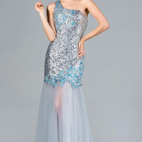 PRIMA C131905 Sequin One Shoulder Sheer Prom Dress