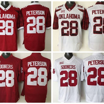 Best 28 Adrian Peterson College Jerseys Oklahoma Sooners Football Adrian Peterson Jersey Men Red White Color Breathable Fashion Stitched