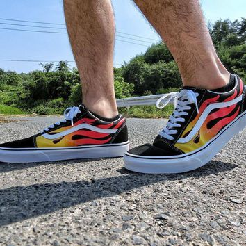 hcxx Vans Classics Flame Sk8-Hi Reissue Low Tops Flats Shoes Canvas Sneakers Sport Shoes