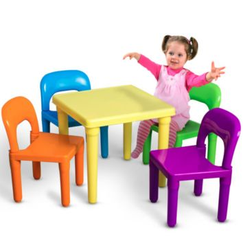 Kids 1 Table 4 Chairs Play Set Toddler Child Toy Activity Indoor Outdoor Furniture