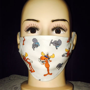 Adjustable CHILD Medical Face Mask:  Rocky and Bullwinkle