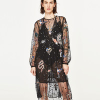 EMBROIDERED TULLE MIDI DRESS