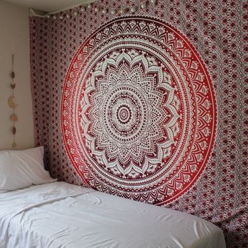 Magical Thinking Large Hippie Tapestry Mandala Red Ombre Bohemian Bedspread Throw