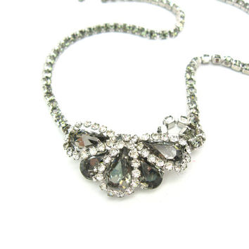 Weiss Necklace Rhinestone Black Diamond Choker. Vintage 1960s Jewelry, Smoky Gray and Clear Austrian Crystals